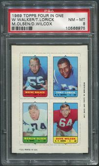 1969 Topps Four-in-One Inserts #61 Walker Lorick Wilcox Merlin Olsen PSA 8 (NM-MT)