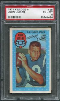 1971 Kellogg's Football #28 Johnny Unitas PSA 6 (EX-MT)
