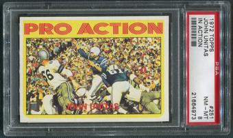 1972 Topps Football #251 Johnny Unitas In Action PSA 8 (NM-MT)