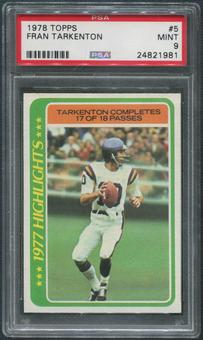 1978 Topps Football #5 Fran Tarkenton Highlights PSA 9 (MINT)