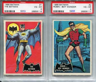1966 Batman The Batman #1 and Robin - Boy Wonder #2 VG-EX PSA 4 Set Black Bat