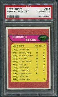 1976 Topps Football #454 Chicago Bears Team Checklist PSA 8 (NM-MT)