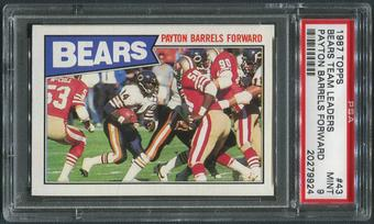 1987 Topps Football #43 Bears Team Leaders Walter Payton PSA 9 (MINT)