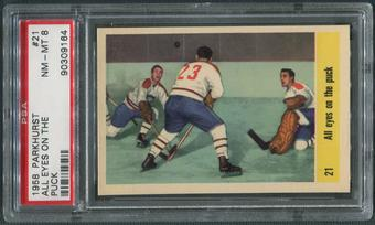 1958/59 Parkhurst Hockey #21 Jacques Plante All Eyes On The Puck PSA 8 (NM-MT)