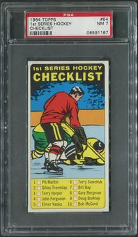 1964/65 Topps Hockey #54 1st Checklist PSA 7 (NM)