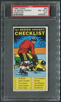 1964/65 Topps Hockey #54 1st Checklist PSA 8 (NM-MT) (OC)