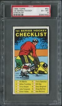 1964/65 Topps Hockey #54 1st Checklist PSA 6 (EX-MT)
