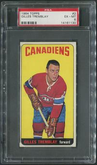 1964/65 Topps Hockey #2 Gilles Tremblay PSA 6 (EX-MT)