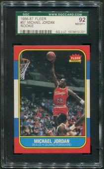 1986/87 Fleer Basketball #57 Michael Jordan Rookie SGC 92 (NM-MT+)