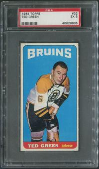 1964/65 Topps Hockey #32 Ted Green SP PSA 5 (EX)
