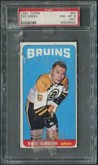 1964/65 Topps Hockey #32 Ted Green SP PSA 8 (NM-MT) (OC)