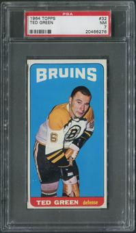 1964/65 Topps Hockey #32 Ted Green SP PSA 7 (NM)