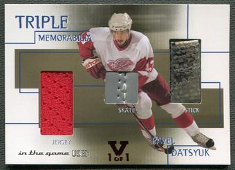 2015/16 In The Game The Final Vault #7 Pavel Datsyuk Triple Jersey Skate Stick #1/1
