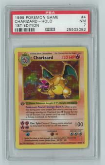 Pokemon Base Set 1 First Edition Shadowless Charizard 4/102 Holo Rare PSA 7