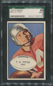 1953 Bowman Football #56 Y.A.Tittle SGC 88 (NM-MT 8)