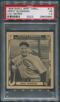 1948 Swell Sport Thrills Baseball #14 Lou Gehrig Great Slugging! PSA 1.5 (FR)