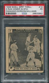 1948 Swell Sport Thrills Baseball #16 Ted Williams Three Run Homer In Ninth PSA 1 (PR)