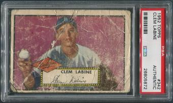 1952 Topps Baseball #342 Clem Labine Rookie PSA Authentic