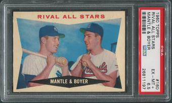 1960 Topps Baseball #160 Mickey Mantle & Ken Boyer Rival All-Stars PSA 6.5 (EX-MT+)