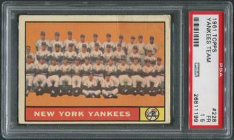 1961 Topps Baseball #228 Yankees Team Checklist PSA 1.5 (FR)