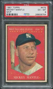 1961 Topps Baseball #475 Mickey Mantle MVP PSA 6 (EX-MT)