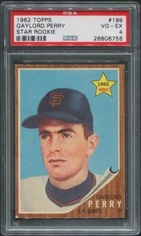 1962 Topps Baseball #199 Gaylord Perry Rookie PSA 4 (VG-EX)
