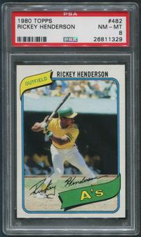 1980 Topps Baseball #482 Rickey Henderson PSA 8 (NM-MT)