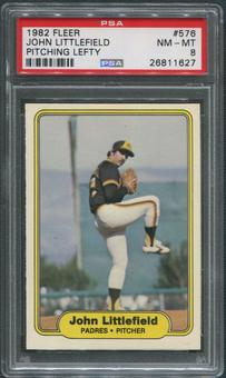 1982 Fleer Baseball #576 John Littlefield Pitching Lefty PSA 8 (NM-MT)