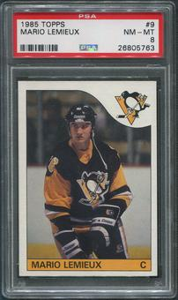 1985/86 Topps Hockey #9 Mario Lemieux Rookie PSA 8 (NM-MT)