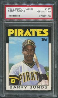 1986 Topps Traded Baseball #11T Barry Bonds Rookie PSA 10 (GEM MT)