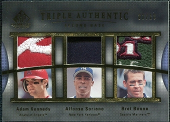 2004 SP Game Used Patch Triple Authentic Adam Kennedy Alfonso Soriano Bret Boone 2/10