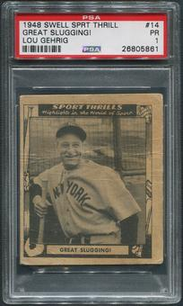1948 Swell Sport Thrills Baseball #14 Lou Gehrig Great Slugging! PSA 1 (PR)