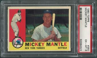 1960 Topps Baseball #350 Mickey Mantle PSA 6 (EX-MT)