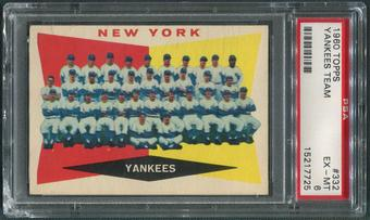 1960 Topps Baseball #332 New York Yankees Team Checklist PSA 6 (EX-MT)