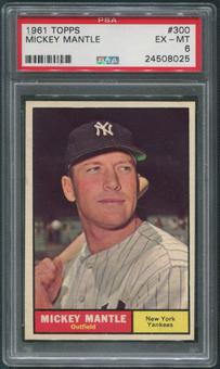 1961 Topps Baseball #300 Mickey Mantle PSA 6 (EX-MT)
