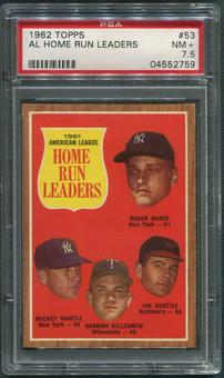 1962 Topps Baseball #53 AL Home Run Leaders Mickey Mantle Maris Gentile Killebrew PSA 7.5 (NM+)