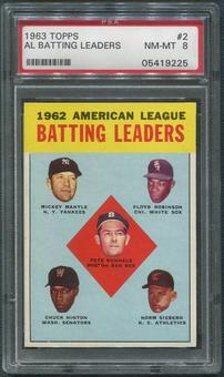 1963 Topps Baseball #2 AL Batting Leaders Mickey Mantle PSA 8 (NM-MT)