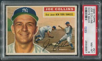 1956 Topps Baseball #21 Joe Collins White Back PSA 8 (NM-MT)