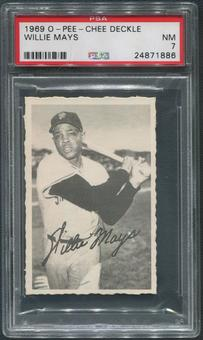 1969 O-Pee-Chee Deckle Baseball #16 Willie Mays PSA 7 (NM)