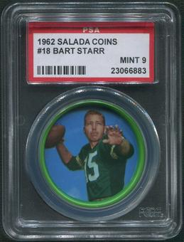 1962 Salada Coins Football #18 Bart Starr PSA 9 (MINT)