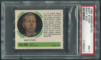 1968 American Oil Winners Circle Football #12 Bart Starr Right Side PSA 7 (NM)