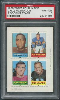 1969 Topps Four In One Football Bart Starr Kelly Ogden Meador PSA 8 (NM-MT)