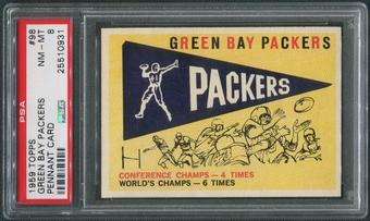 1959 Topps Football #98 Green Bay Packers Pennant Card PSA 8 (NM-MT)