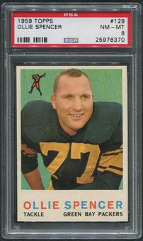 1959 Topps Football #129 Ollie Spencer Rookie PSA 8 (NM-MT)
