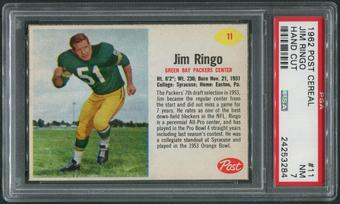 1962 Post Cereal Football #11 Jim Ringo Hand Cut PSA 7 (NM)