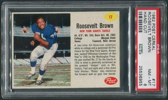 1962 Post Cereal Football #17 Roosevelt Brown Hand Cut PSA 8 (NM-MT)