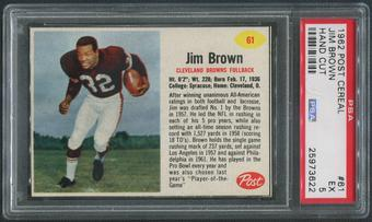 1962 Post Cereal Football #61 Jim Brown Hand Cut PSA 5 (EX)