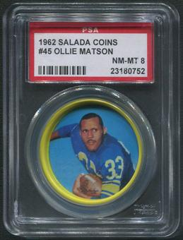 1962 Salada Coins Football #45 Ollie Matson PSA 8 (NM-MT)