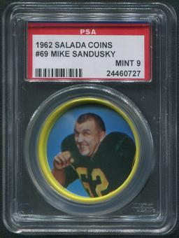 1962 Salada Coins Football #69 Mike Sandusky PSA 9 (MINT)