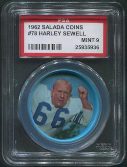 1962 Salada Coins Football #78 Harley Sewell PSA 9 (MINT)